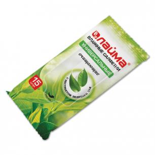 Салфетки влажные ЛАЙМА 15шт., универсальные очищающие, с экстрактом зеленого чая, 125956
