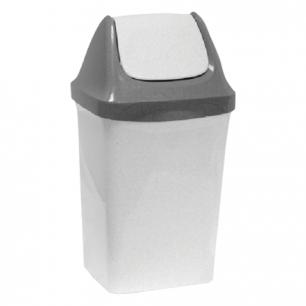 """Ведро-контейнер 15л для мусора IDEA, """"Свинг"""", качающаяся крышка (в47*ш27*г23см), серый мрамор, М 2462"""
