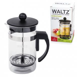 Заварник (френч-пресс)  WALTZ (ВАЛЬЦ)  B630, 600 мл, жаропрочное стекло/пласт./нерж.сталь, черный
