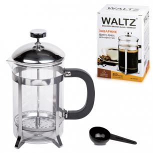 Заварник (френч-пресс)  WALTZ (ВАЛЬЦ)  B500F, 800 мл, жаропр.стекло/пластик/нерж.сталь+пласт.лож, 601365