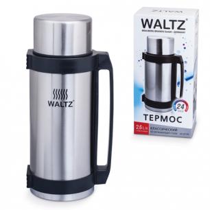 Термос WALTZ (ВАЛЬЦ)  классический с узким горлом, 2,6л, нержавеющая сталь, пластиковая ручка, 601406