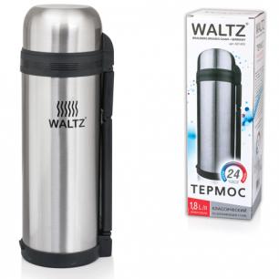 Термос WALTZ (ВАЛЬЦ)  классический с узким горлом, 1,8 л, нержавеющая сталь, пластиковая ручка, 601405