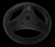 Диск обрезиненный черный, D 51, 25 кг P-ROB-25K-Alex