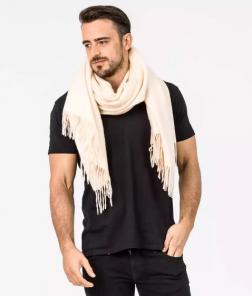 Роскошный большой плотный шарф, высокая плотность, 100 % драгоценный кашемир , расцветка Жемчужина  (премиум)