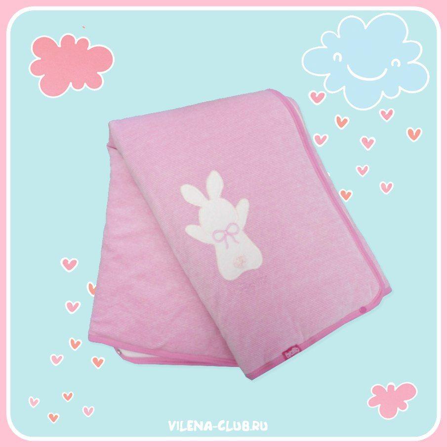 Розовый плед-конверт с зайкой Bebetto