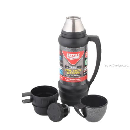 Купить Термос Арктика с узким горлом 109-1000М черный (с доп. чашкой и контейн. для чая, 1000 мл)
