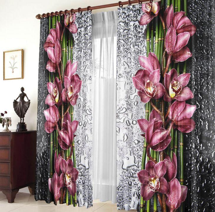 """Фотошторы """"Орхидея на стекле"""" Габардин"""