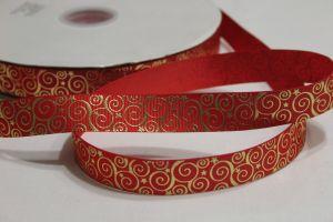 Лента репсовая с рисунком, ширина 22 мм, длина 10 метров цвет: красный, Арт. ЛР5195-1