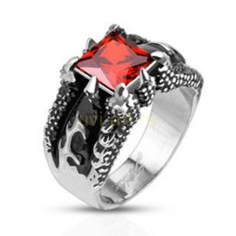 """Стильный мужской перстень Spikes с искусственным рубином """"Хищник"""" (арт. 280136)"""