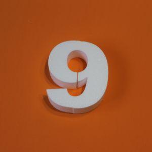 "Цифра ""9"" 15 см, пенопласт (1уп = 5шт)"