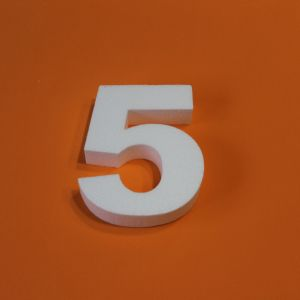 "Цифра ""5"" 15 см, пенопласт (1уп = 5шт)"