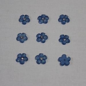 "Кабошон со стразой ""Цветок"" 16 мм, цвет голубой (1уп = 50шт)"