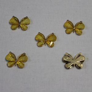 """Кабошон """"Бабочка"""", металл, размер 22*28 мм, цвет желтый (1уп = 10шт)"""