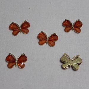 "Кабошон ""Бабочка"", металл, размер 22*28 мм, цвет оранжевый (1уп = 10шт)"