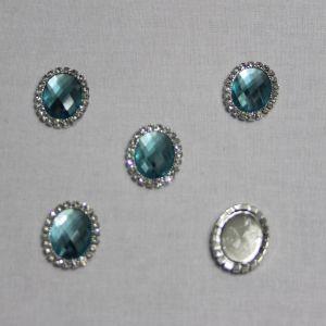 Кабошон со стразами, овал, цвет основы - серебро, стразы - бирюзовый, 23*18 мм (1уп = 10шт)