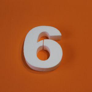 """`Цифра """"6"""" 15 см, пенопласт"""