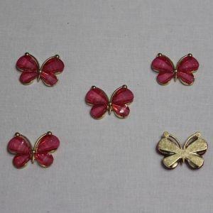 "`Кабошон ""Бабочка"", металл, размер 22*28 мм, цвет ярко-розовый"