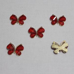 """`Кабошон """"Бабочка"""", металл, размер 22*28 мм, цвет красный"""