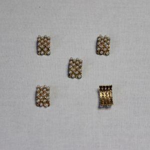 `Кабошон со стразами, металл, цвет основы - золото, 16*10 мм