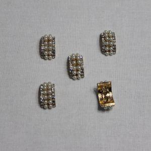 `Кабошон со стразами, металл, цвет основы - золото, 18*10 мм