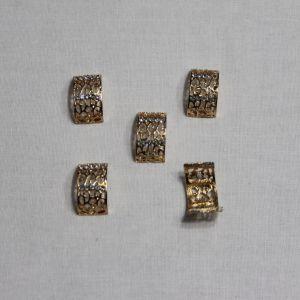 `Кабошон со стразами, металл, цвет основы - золото, 20*11 мм