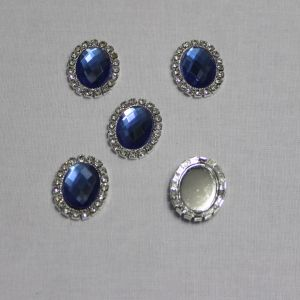 `Кабошон со стразами, овал, цвет основы - серебро, стразы - синий, 23*18 мм