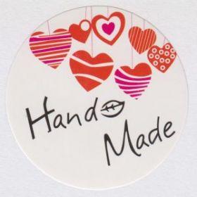 Наклейки HandMade круг сердечки (3,5 см, 10 шт)