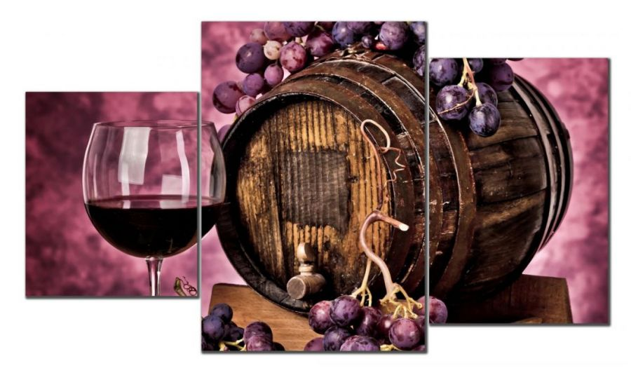 Модульная картина Вино и бочка