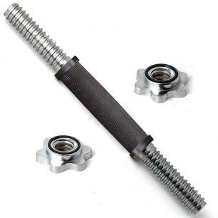 Гриф для гантели хромированный с резиновой ручкой 350 мм 26 мм с замком-гайкой RB14TR-26