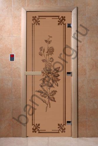 Дверь для бани DoorWood Розы Бронза матовая