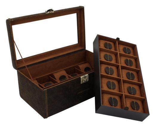 Шкатулка для хранения 20 наручных часов  Friedrich Lederwaren Cubano 27024-6