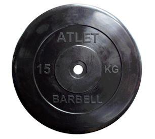 Диск обрезиненный черного цвета Atlet 15 кг