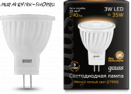 Лампа Gauss LED D35*45 3W SMD MR11 AC220-240V GU4 2700K FROST
