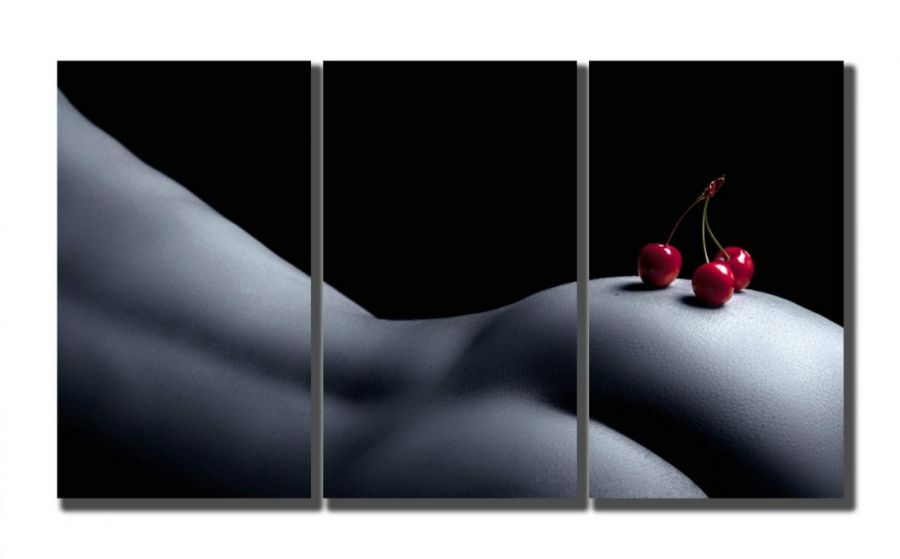 Модульная картина Девушка и вишня