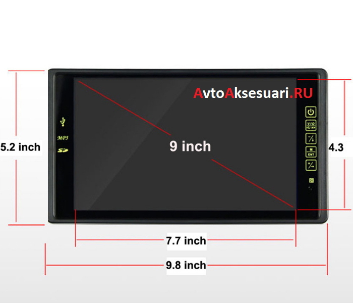 Авто монитор 9 дюймов USB/SD
