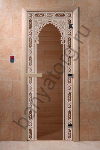 Дверь для бани DoorWood Восточная Арка Бронза