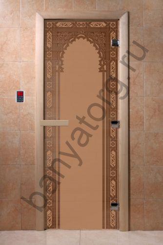 Дверь для бани DoorWood Восточная Арка Бронза матовая