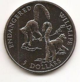 Лемуры 5 долларов Острова Кука 1992 Вымирающие виды