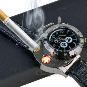 Мужские часы и USB-зажигалка - 2 в 1