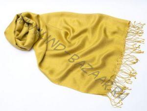 Шёлк + шерсть, желтый шарф палантин цвета спелого лимона (Москва)