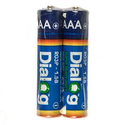 Батарейка солевая ААА Dialog, 2 шт. в термоплёнке R03P-2S