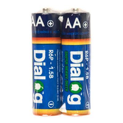 Батарейка солевая АА Dialog, 2 шт. в термоплёнке R6P-2S