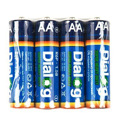 Батарейка солевая АА Dialog, 4 шт. в термоплёнке R6P-4S