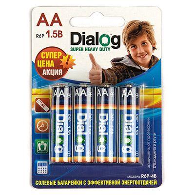 Батарейка солевая АА Dialog, 4 шт. в блистере R6P-4B