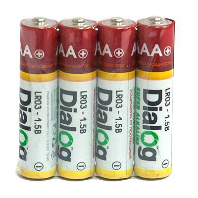 Батарейка щелочная ААА Dialog, 4 шт. в термоплёнке LR03-4S