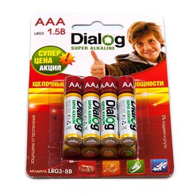 Батарейка щелочная ААА Dialog, 8 шт. в блистере LR03-8B