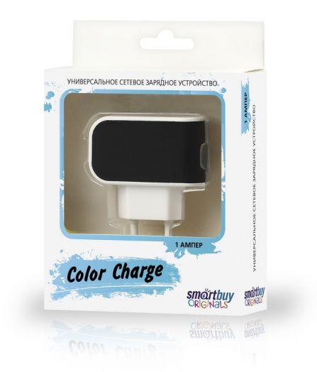 Вилка USB SmartBuy COLOR CHARGE, 2А, универсальное, 1хUSB, черное