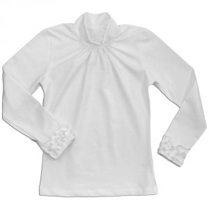 Водолазка из хлопкового трикотажа белого цвета для девочки