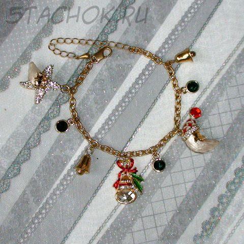 """Браслет """"Новый год"""" под золото, сваровски, эмаль"""