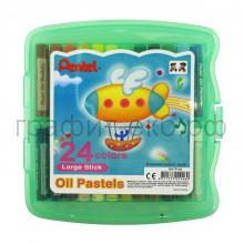 Пастель масл.24цв.Pentel пластиковый бокс GHTP-24